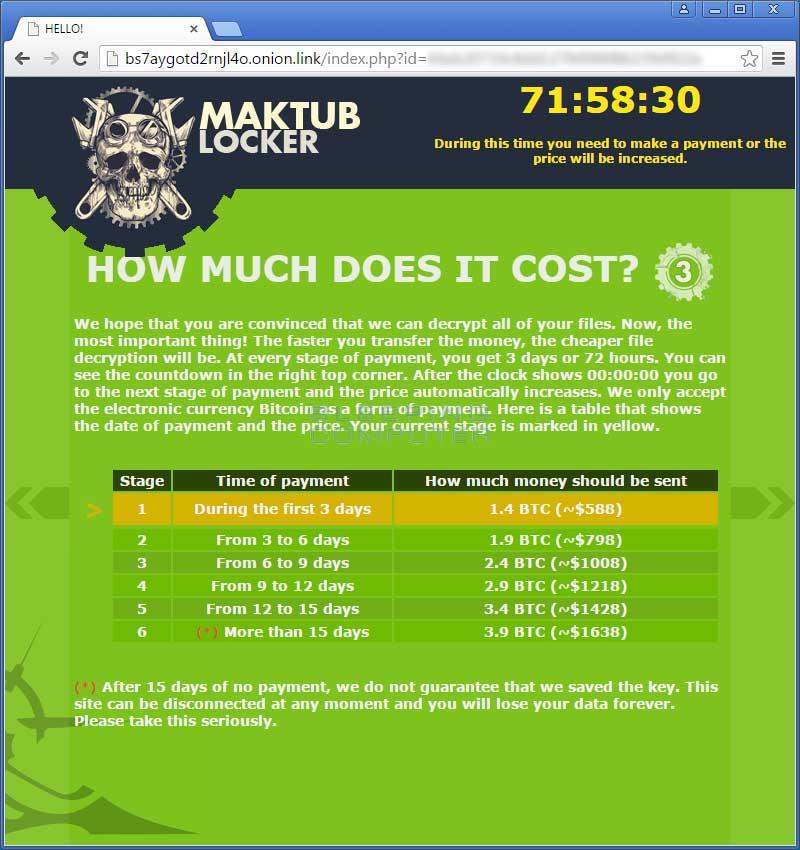 Obr. 2: Informační obrazovka ransomwaru Maktub – čím později zaplatíte výkupné, tím dražší bude.