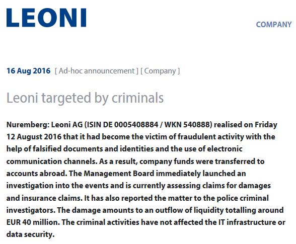 Leoni targeted by criminals – LEONI