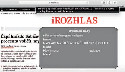 Ukázka orientačních bodů sestavených odečítačem obrazovky napřístupném webu iRozhlas.cz.