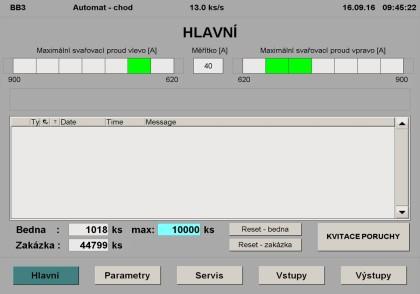 Obr. 4: Příklad HMI obrazovky (vizualizace) řídicího systému Beckhoff