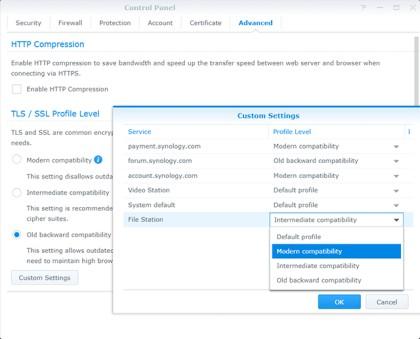 Výběr úrovně profilu TLS/SSL umožňuje nastavení vlastního profilu pro jednotlivé síťové služby.