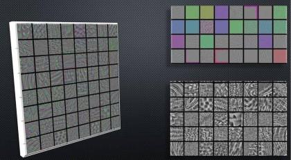 Obr. 2: Pohled na vrstvy neuronové sítě, která slouží k rozpoznávání zvířat. Vpravo nahoře nízká hloubka, sítě se učí rozpoznávat barvy, tvary a obrysy. Vlevo a vpravo dole jsou patrné komplexnější vzory, které mohou sloužit k identifikaci šupin a srsti.