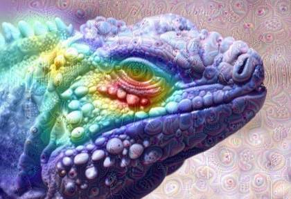 """Obr. 3: Ukázka dvou technik generativního hlubokého učení. Barva reprezentuje teplotní mapu důležitost – čím červenější, tím víc to síť ujišťuje, že se jedná o obrázek leguána. Ornamenty jsou """"halucinace"""" sítě, která je naučená rozpoznávat především zvířata."""