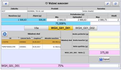 Obr. 5: Příklad obrazovky navažování suroviny