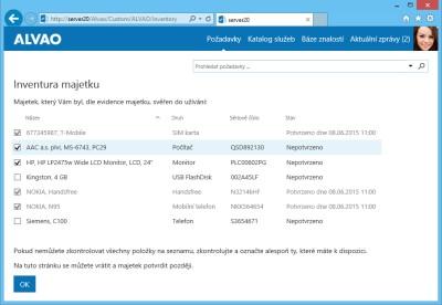 Obr. 1: Obrázek: Zaměstnanec provádí inventuru svého svěřeného majetku skrze webové rozhraní.