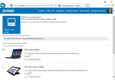 Obr. 1: Zaměstnanec si vybírá zařízení z podnikového e-shopu skrze webové rozhraní.