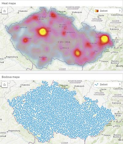 Obr. 1: Vizualizace dat bez a s využitím teplotní mapy