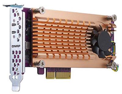 Z bohaté nabídky karet, kterými lze model QNAP TS-673 rozšířit, uveďme například kartu QM2-2P-344, která má dva konektory M.2 pro SSD paměti PCIe Gen3 x4.