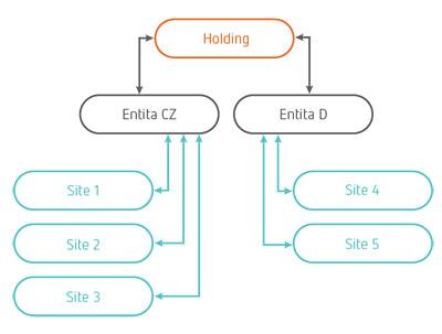 Obr. 1: Příklad holdingové struktury využívající společné informační řešení s architekturou multi-site
