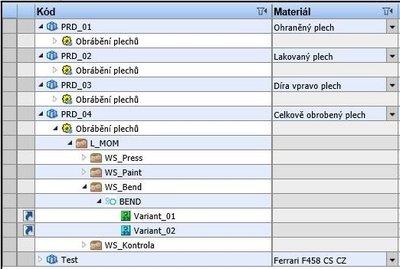 Obr. 2: Specifikace výrobků v COMES MOM