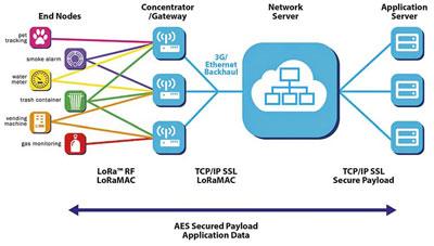 Architektura sítě LoRaWAN.