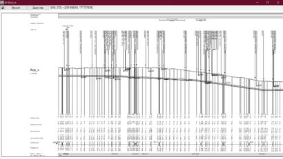 Obr. 4 Detail začátku podélného profilu řadu A se zobrazením všech křížících stávajících a nově projektovaných sítí. Vzhled, popisky a zobrazená dat – vše je uživatelsky definovatelné.