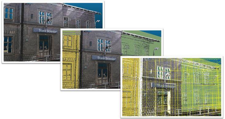 Příklad zpracování 3D mračna bodů: 1. mračno bodů, 2. rozpoznané základní plochy, 3. rozpoznané stavební prvky