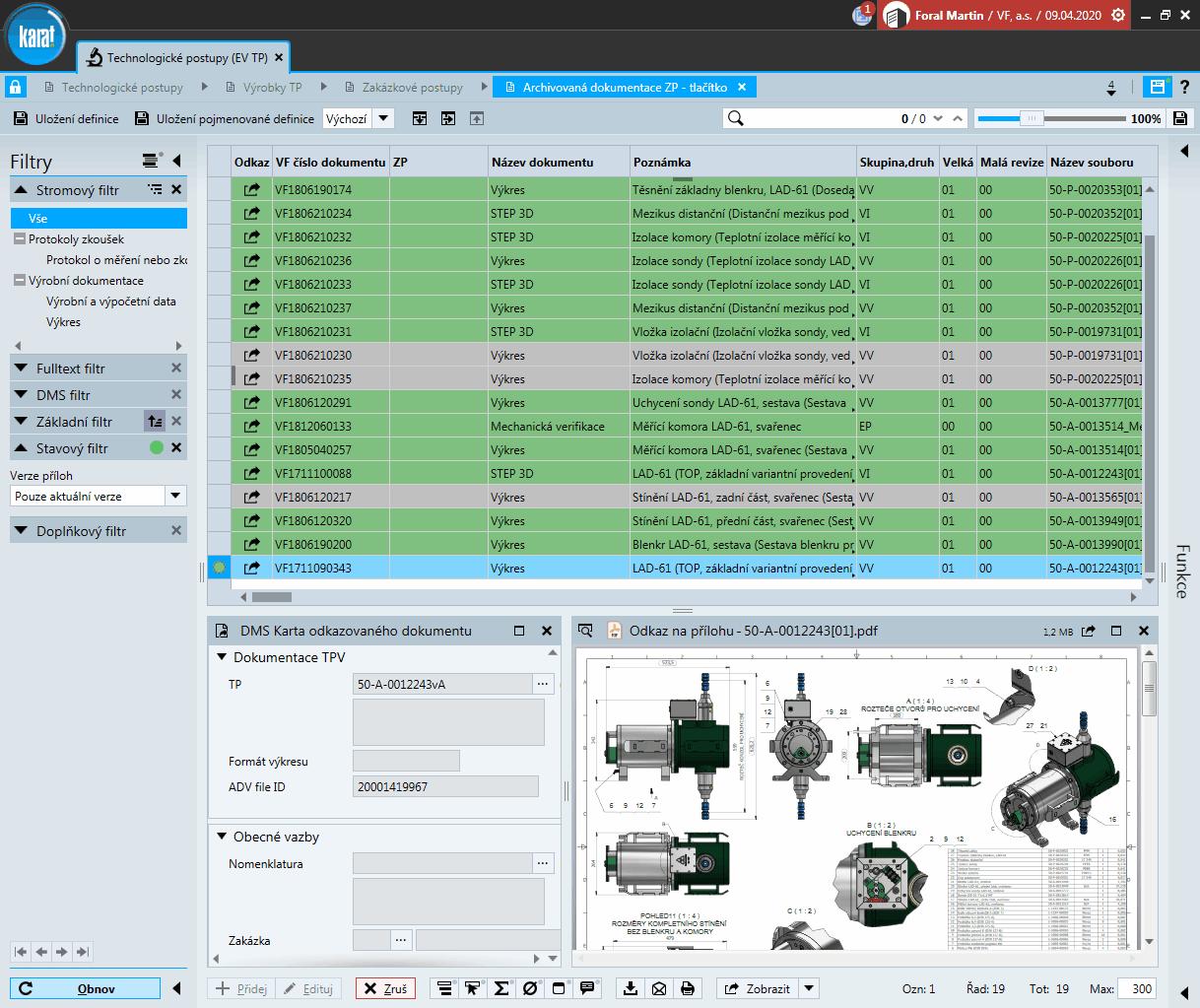 IS KARAT modul DMS – Přehled výrobní dokumentace