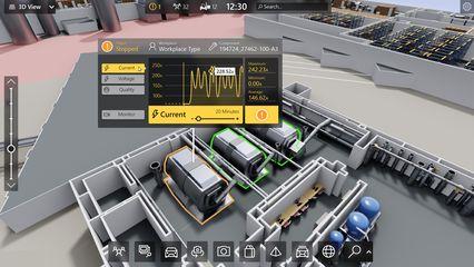 Obr. 1: Digitální dvojče zobrazující data ve 3D modelu a v reálném čase