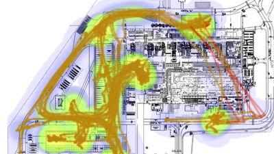 Obr. 3: Špagetový diagram z RTLS systému