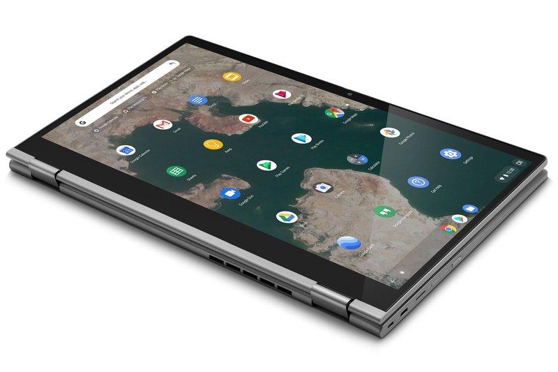 Obr. 1: Chromebook C340 můžete díky otočnému pantu o 360° přizpůsobit stylu vaší práce a natočit si jej tak, jak vám to bude vyhovovat.