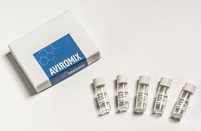 Obr. : Sada AVIROMIX obsahuje látky Chloroquine, Hydroxychloroquin, Favipiravir, Azithromycin a Remdesivir