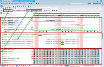 Společné zobrazení výrobních příkazů, objednávek a časové osy karet