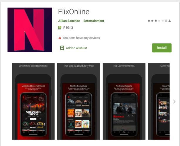 Aplikace FlixOnline na Google Play