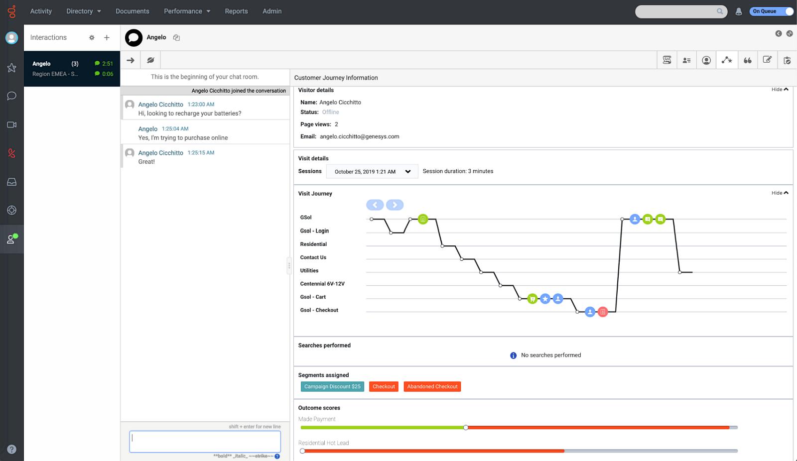 Mapa cesty zákazníka při komunikaci scall centrem prostřednictvím řešení Genesys Cloud.