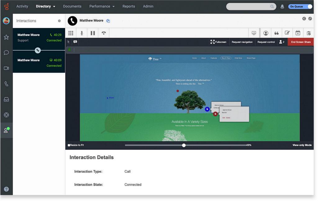 Sdílení obrazovky pracovníka call centra se zákazníkem: řešení lze zákazníkovi ukázat prostřednictvím web prohlížeče (Genesys Cloud).